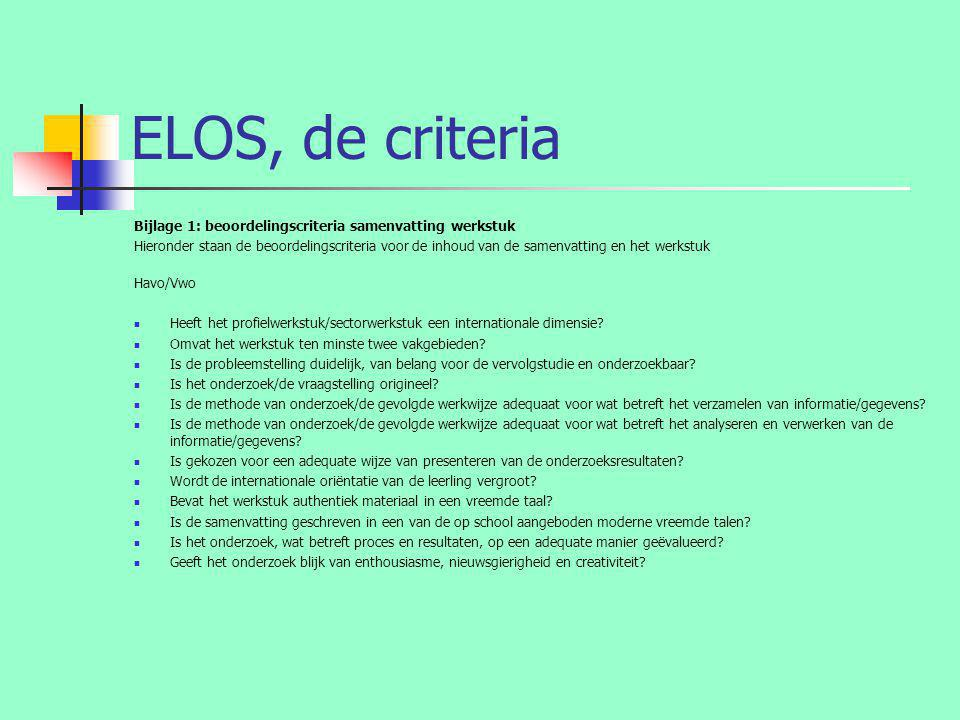 ELOS, de criteria Bijlage 1: beoordelingscriteria samenvatting werkstuk.