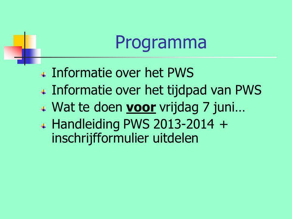 Programma Informatie over het PWS Informatie over het tijdpad van PWS
