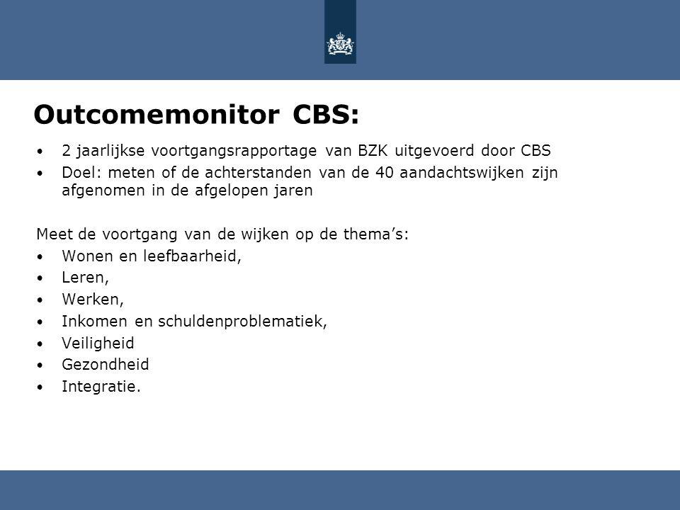 Outcomemonitor CBS: 2 jaarlijkse voortgangsrapportage van BZK uitgevoerd door CBS.