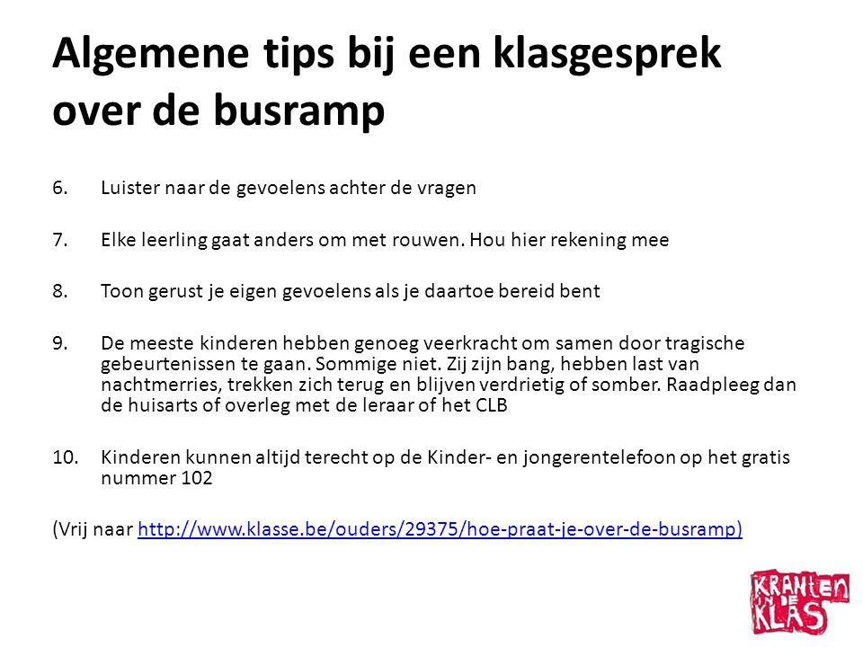 Algemene tips bij een klasgesprek over de busramp