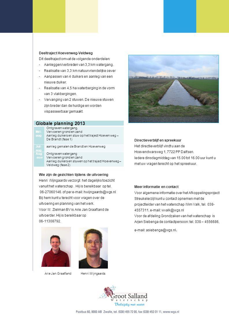 Globale planning 2013 Deeltraject Hoevenweg-Veldweg