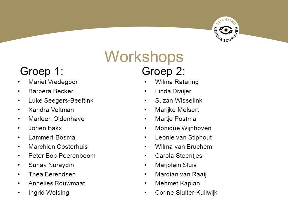 Workshops Groep 1: Groep 2: Mariet Vredegoor Wilma Ratering