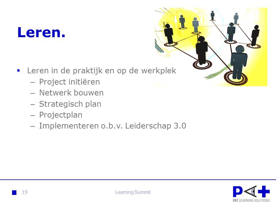 Leren. Leren in de praktijk en op de werkplek Project initiëren