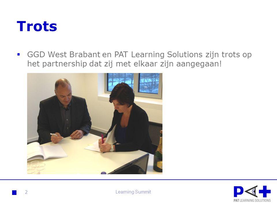 Trots GGD West Brabant en PAT Learning Solutions zijn trots op het partnership dat zij met elkaar zijn aangegaan!