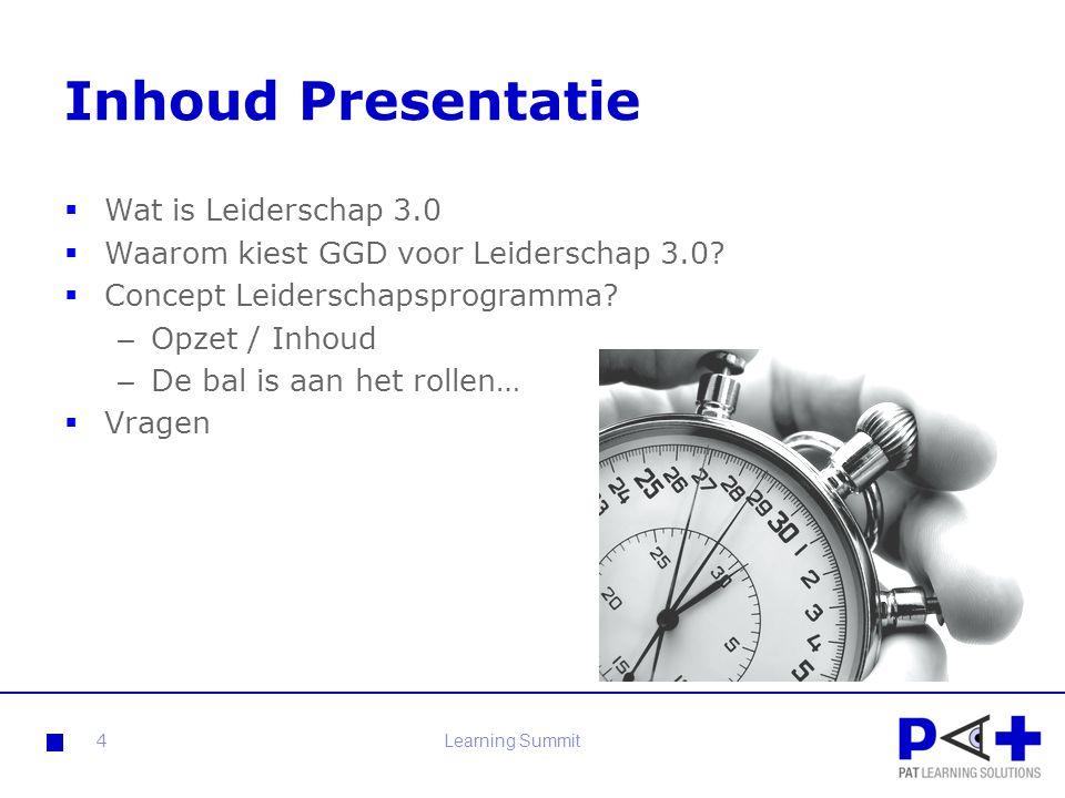 Inhoud Presentatie Wat is Leiderschap 3.0