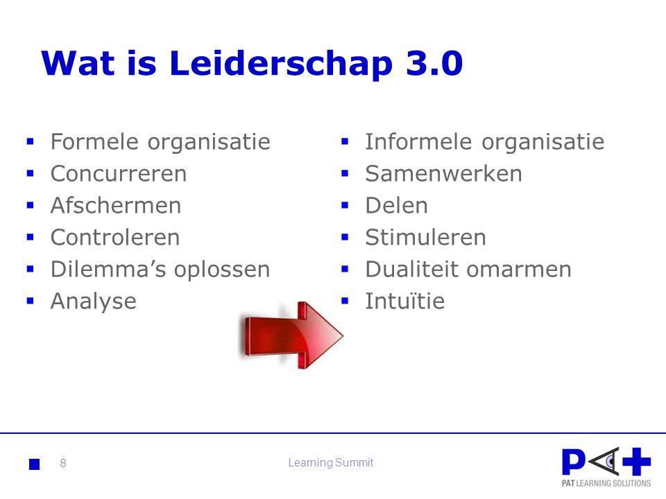 Wat is Leiderschap 3.0 Formele organisatie Concurreren Afschermen