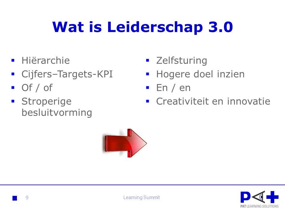 Wat is Leiderschap 3.0 Hiërarchie Cijfers–Targets-KPI Of / of