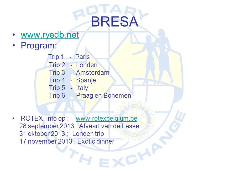 BRESA www.ryedb.net Program: Trip 1 - Paris Trip 2 - Londen
