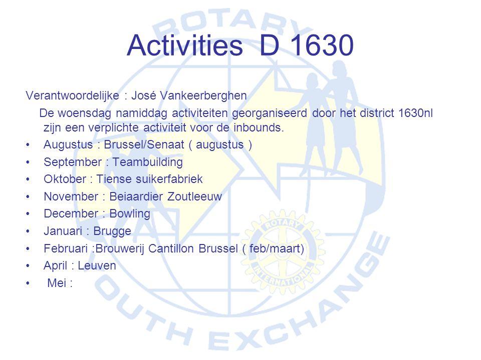 Activities D 1630 Verantwoordelijke : José Vankeerberghen