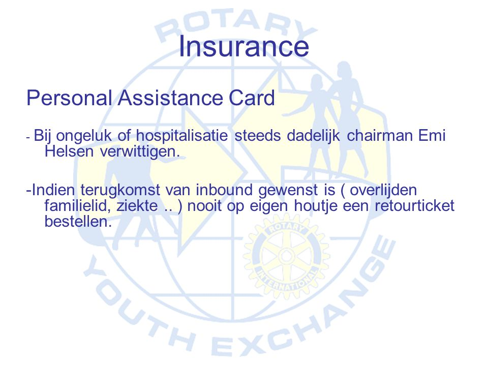 Insurance Personal Assistance Card