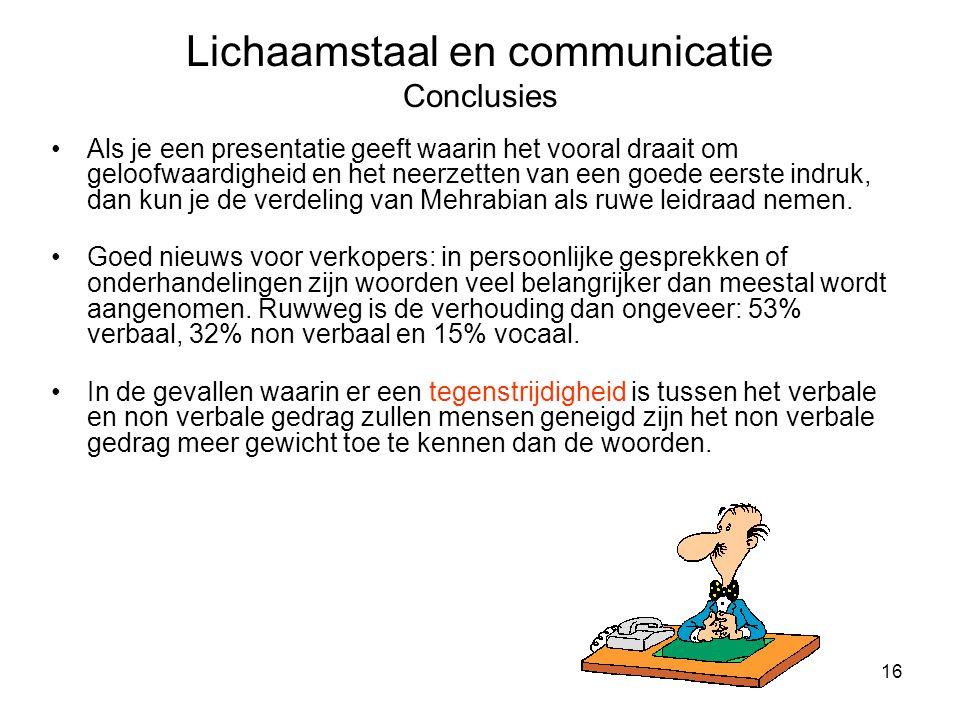 Lichaamstaal en communicatie Conclusies