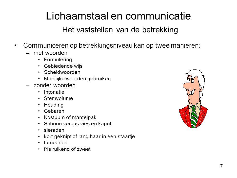 Lichaamstaal en communicatie Het vaststellen van de betrekking