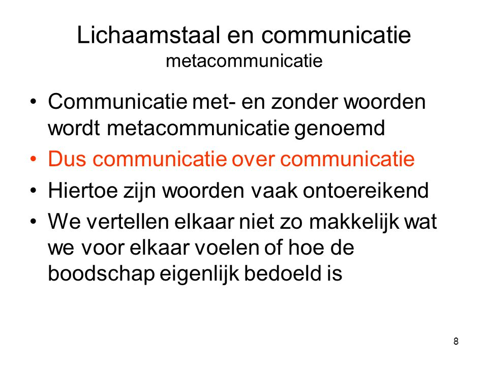 Lichaamstaal en communicatie metacommunicatie