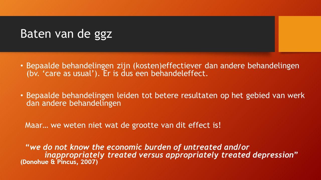 Baten van de ggz Bepaalde behandelingen zijn (kosten)effectiever dan andere behandelingen (bv. 'care as usual'). Er is dus een behandeleffect.