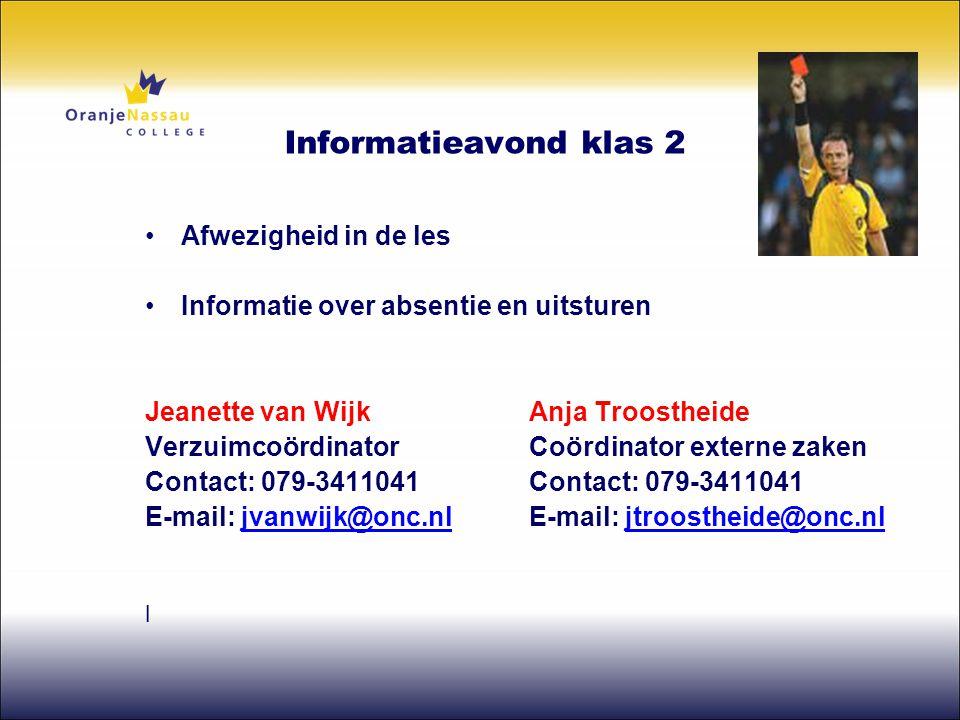 Informatieavond klas 2 Afwezigheid in de les