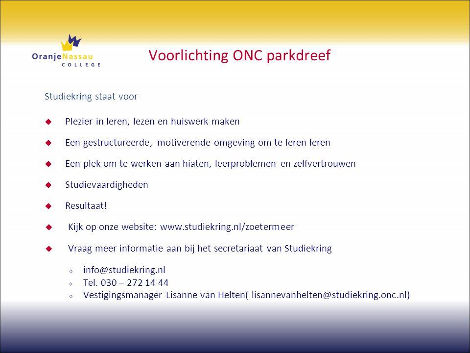 Voorlichting ONC parkdreef