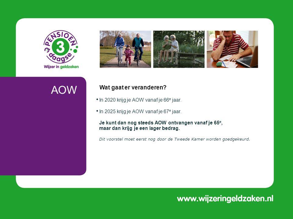 AOW Wat gaat er veranderen In 2020 krijg je AOW vanaf je 66e jaar.