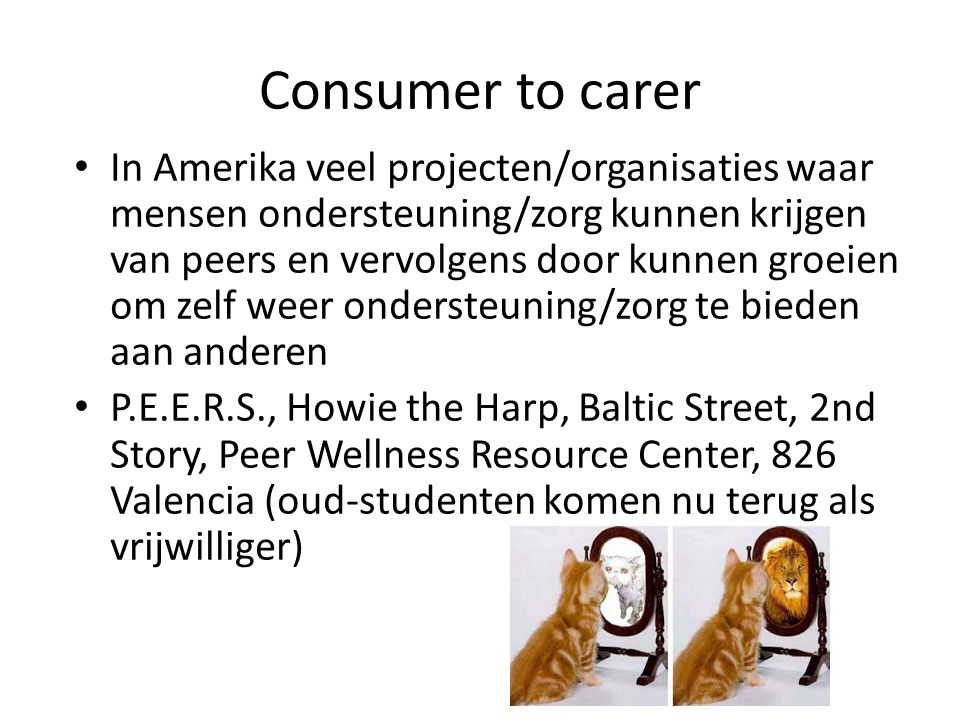 Consumer to carer