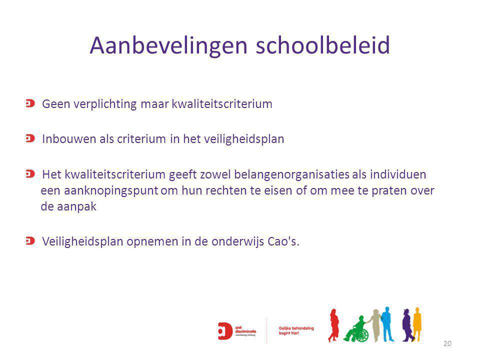 Aanbevelingen schoolbeleid