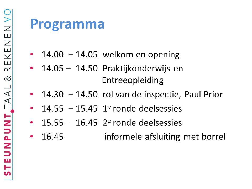 Programma 14.00 – 14.05 welkom en opening