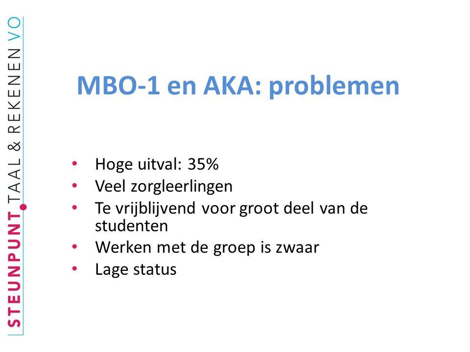 MBO-1 en AKA: problemen Hoge uitval: 35% Veel zorgleerlingen