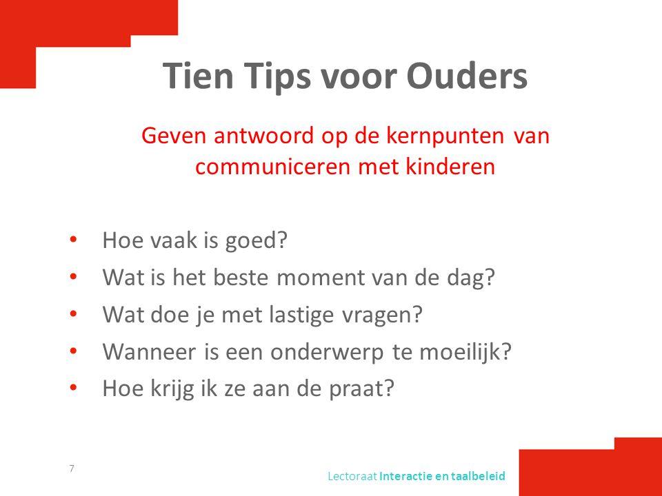 Geven antwoord op de kernpunten van communiceren met kinderen