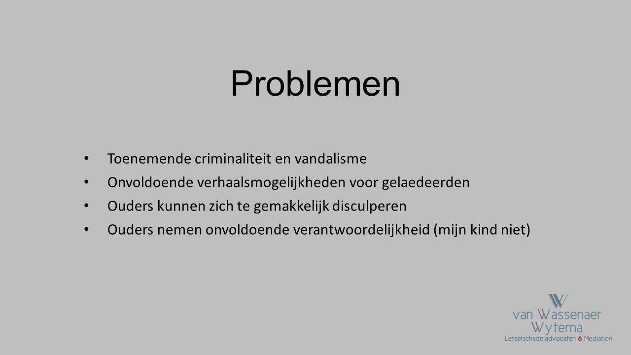 Problemen Toenemende criminaliteit en vandalisme