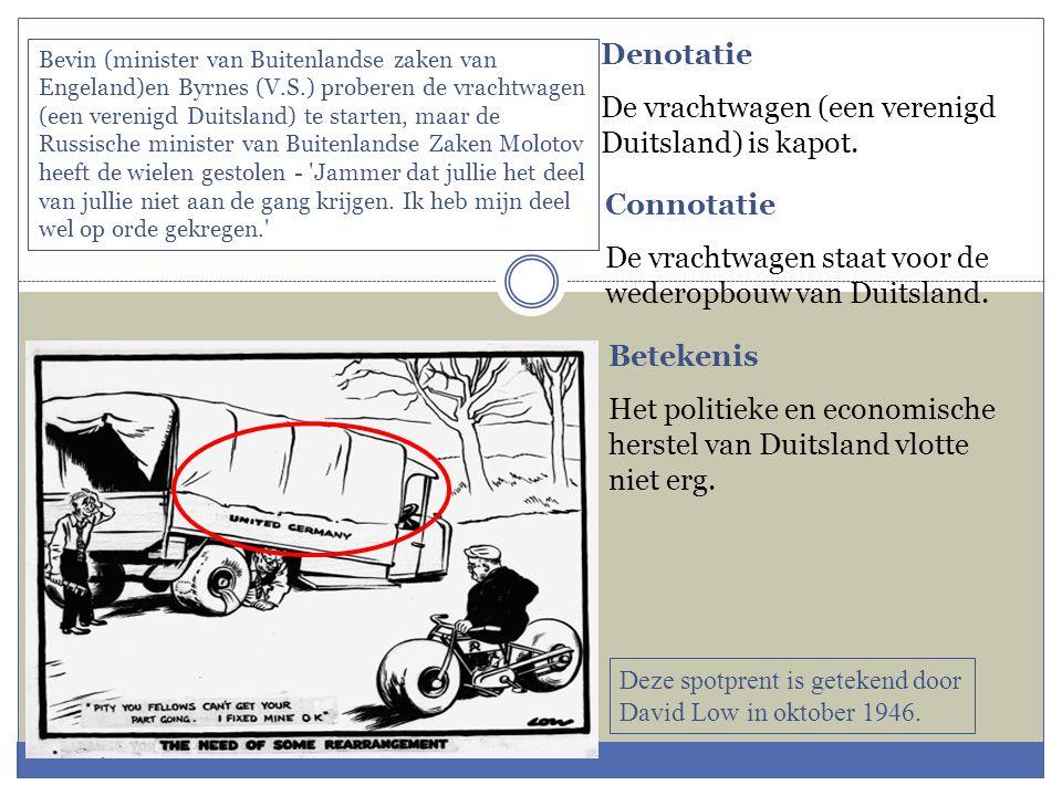 De vrachtwagen (een verenigd Duitsland) is kapot.