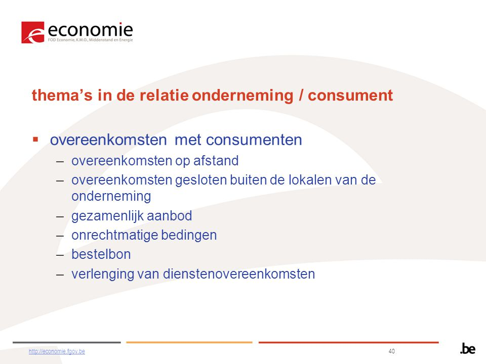 thema's in de relatie onderneming / consument
