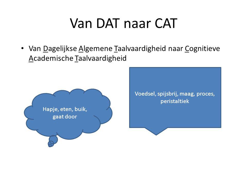 Van DAT naar CAT Van Dagelijkse Algemene Taalvaardigheid naar Cognitieve Academische Taalvaardigheid.