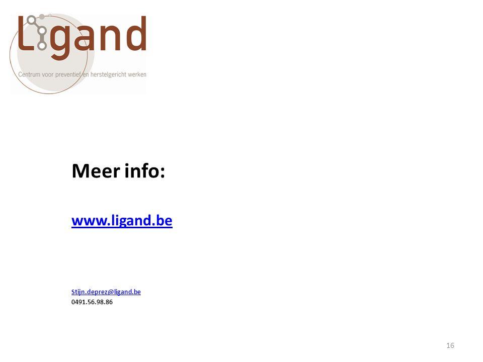 Meer info: www.ligand.be Stijn.deprez@ligand.be 0491.56.98.86