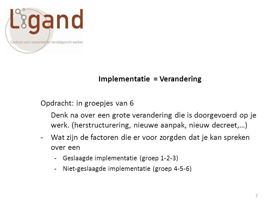 Implementatie = Verandering