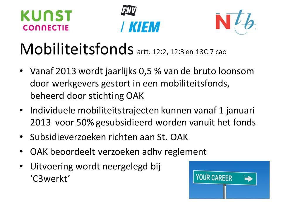 Mobiliteitsfonds artt. 12:2, 12:3 en 13C:7 cao