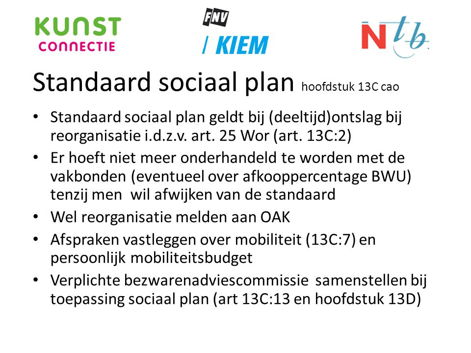 Standaard sociaal plan hoofdstuk 13C cao