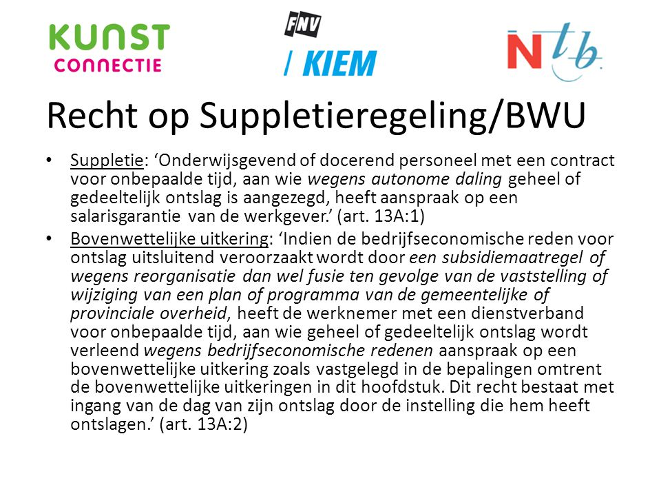 Recht op Suppletieregeling/BWU