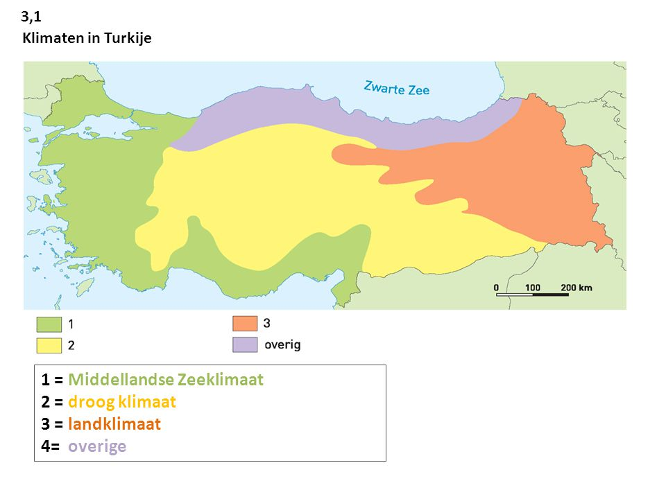 1 = Middellandse Zeeklimaat 2 = droog klimaat 3 = landklimaat