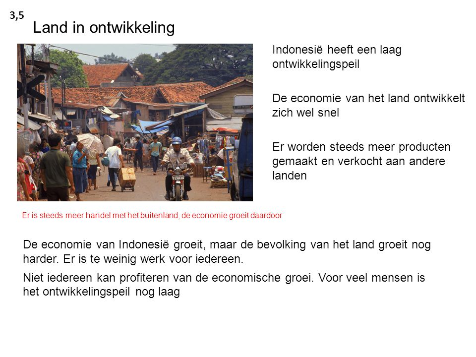 Land in ontwikkeling 3,5 Indonesië heeft een laag ontwikkelingspeil