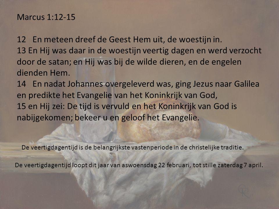 Marcus 1:12-15 12 En meteen dreef de Geest Hem uit, de woestijn in