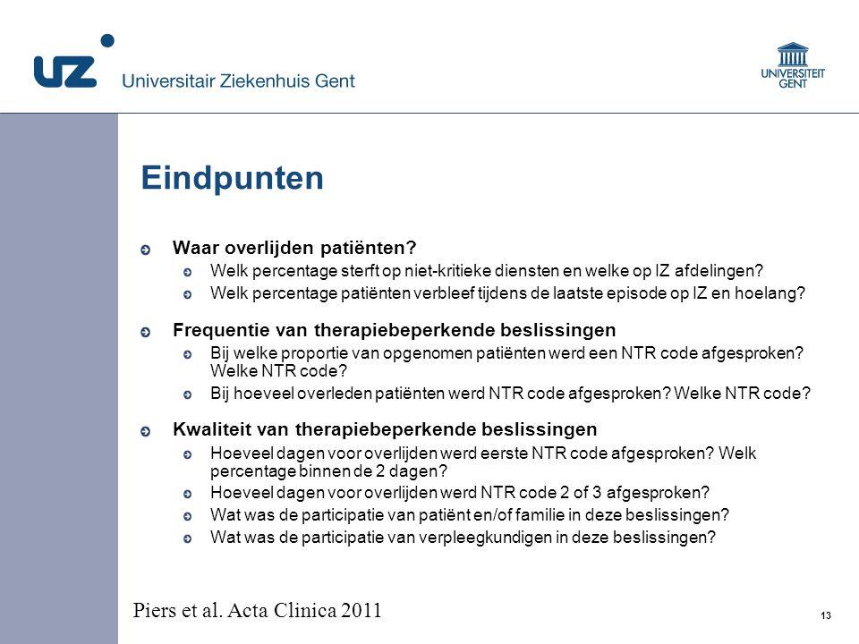 Eindpunten Piers et al. Acta Clinica 2011 Waar overlijden patiënten