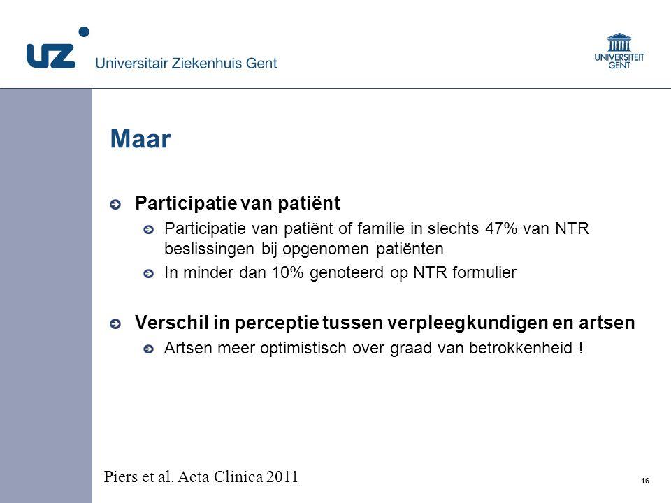 Maar Participatie van patiënt