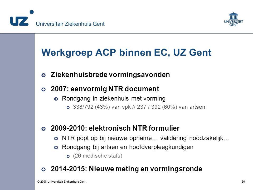 Werkgroep ACP binnen EC, UZ Gent