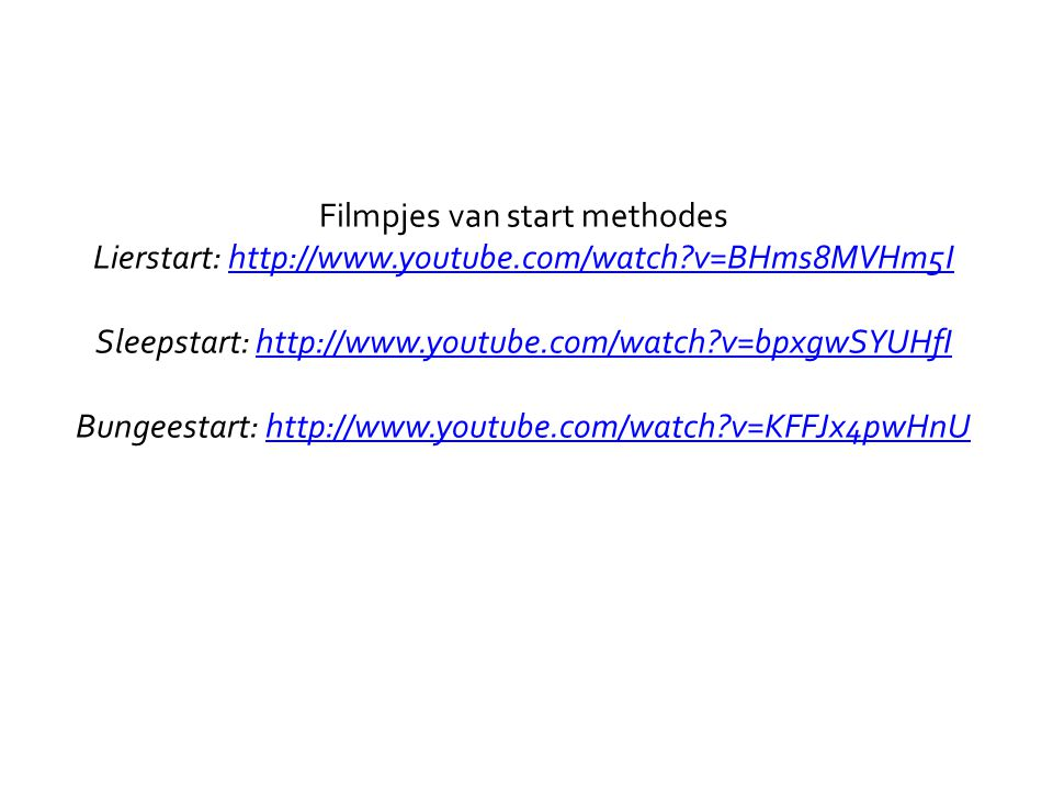 Filmpjes van start methodes Lierstart: http://www. youtube. com/watch