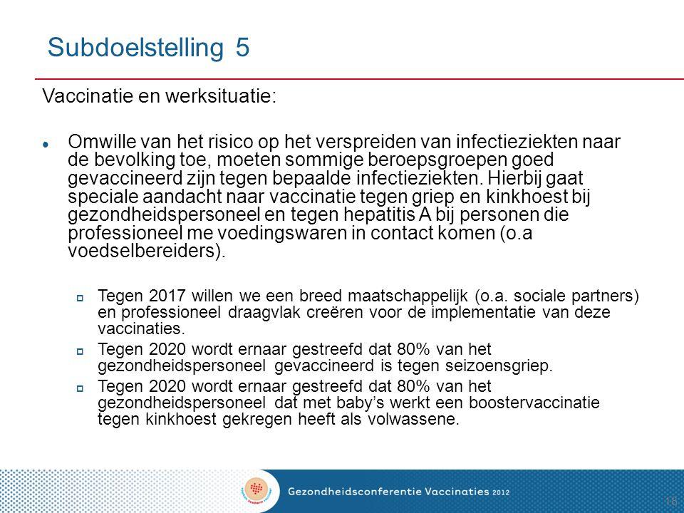 Subdoelstelling 5 Vaccinatie en werksituatie: