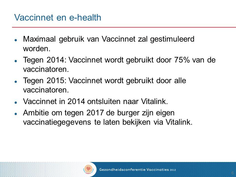 Vaccinnet en e-health Maximaal gebruik van Vaccinnet zal gestimuleerd worden. Tegen 2014: Vaccinnet wordt gebruikt door 75% van de vaccinatoren.