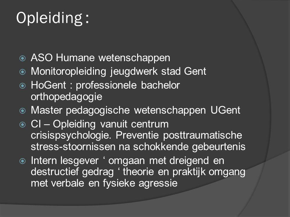 Opleiding : ASO Humane wetenschappen