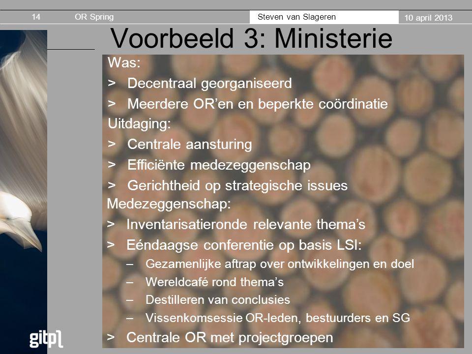 Voorbeeld 3: Ministerie