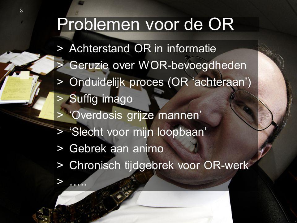 Problemen voor de OR Achterstand OR in informatie