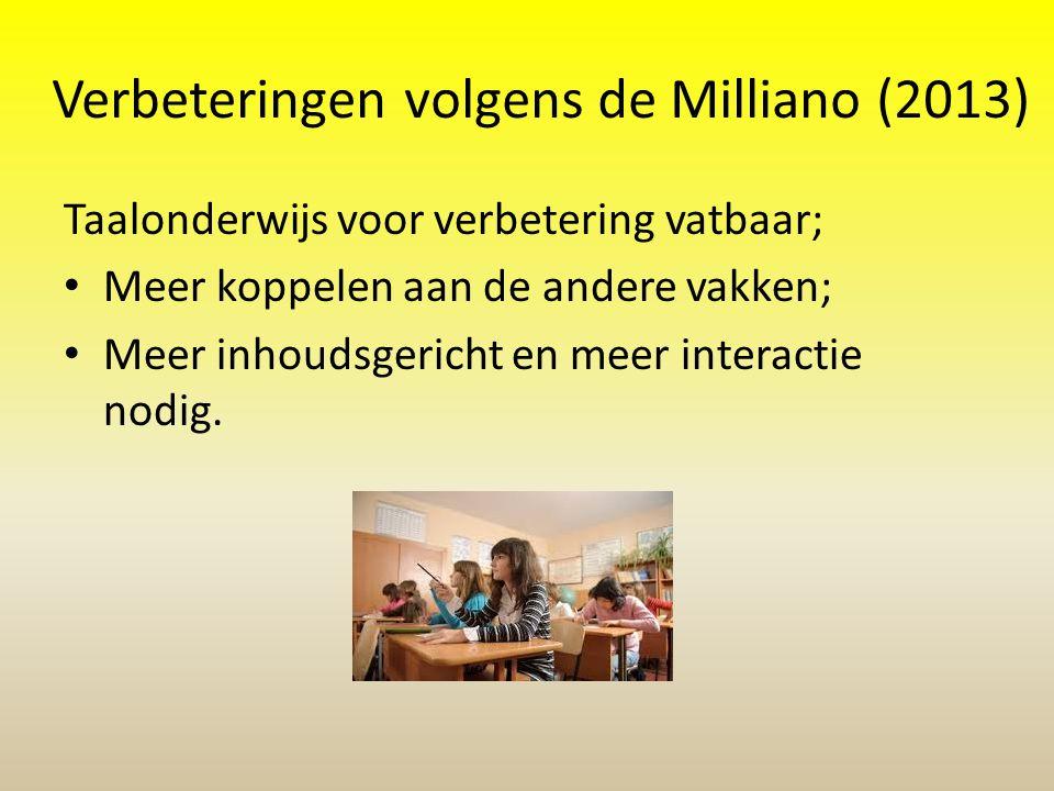 Verbeteringen volgens de Milliano (2013)