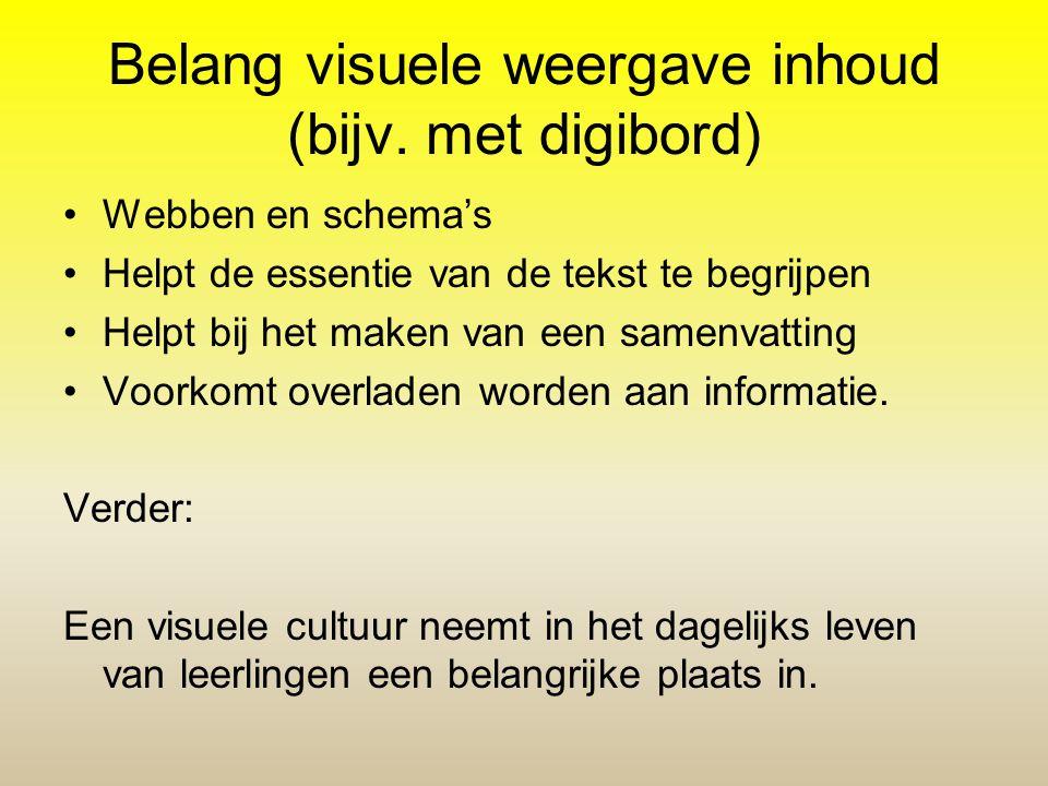 Belang visuele weergave inhoud (bijv. met digibord)