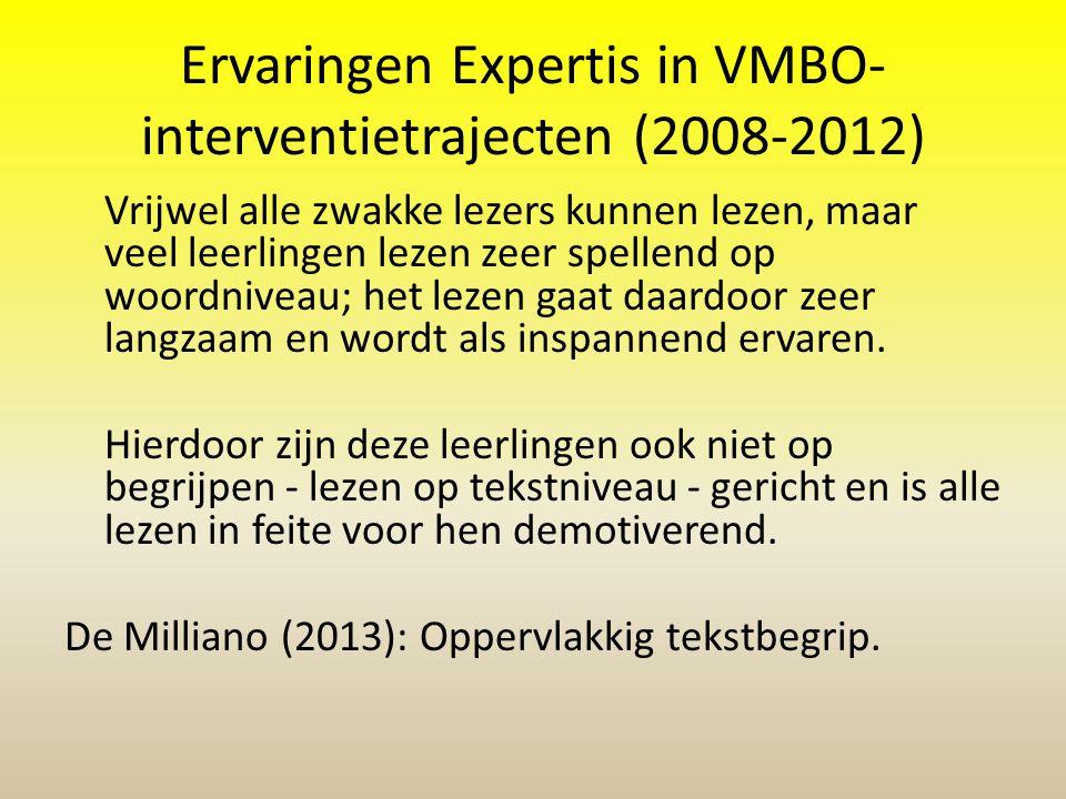 Ervaringen Expertis in VMBO-interventietrajecten (2008-2012)
